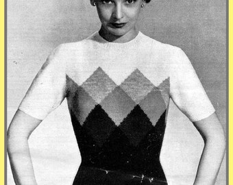 PDF Knitting pattern for a 1940's Jumper & Cardigan Twin Set with a Diamond Design - Instant Download