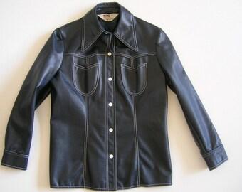 Vintage 70s Montgomery Ward Womens Vinyl Jacket Medium