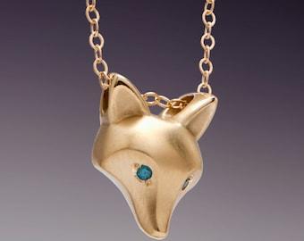 "14 k GOLD fox pendant  ,royal blue DIAMOND eyes ( or pick a color),  14k gold   chain  18"""