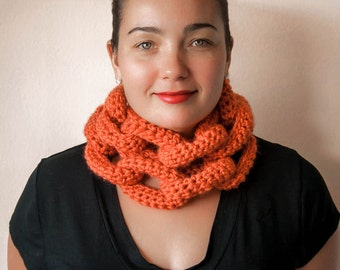 Orange Chain Link Scarf, Crochet Infinity Scarf, Knit Infinity Scarf, Statement Necklace, Chunky Scarf, Colorful Knits, Orange Chunky Scarf