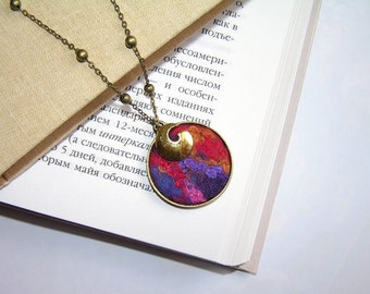 Felted Jewelry Round Pendant red violet gold pink OOAK