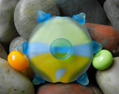 Focal Bead Colorful Blue Green Yellow Etched Lampwork - SRA Poets Torch