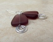 Plum Sea Glass Earrings:  Amethyst Purple Hammered Silver Swirl Dangle Triangle Geometric Beach Jewelry