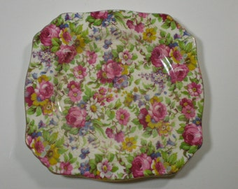 "Square Plate // 6"" // Royal Winton // Summertime"