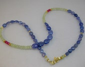 Tanzanite, pink sapphire, prehnite and vermeil necklace
