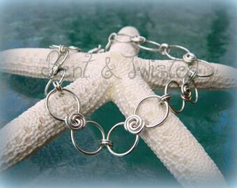 Sterling Silver Rosette Bracelet - Charm Bracelet