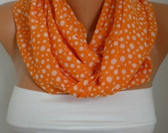 Orange & White Polka dot Chiffon Infinity Scarf,Halloween Gift Cowl Circle Scarf Loop Scarf  Gift Ideas For Her Women Fashion Accessories