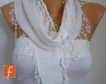 Creamy White Heart Pashmina Scarf - cowl scarf - Gift Ideas For Her,Women Scarves,fatwoman