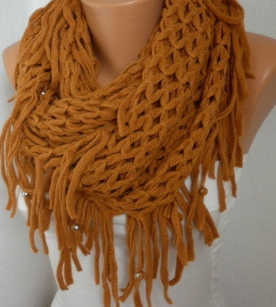 Mustard Knitted Lace Infinity Scarf  Teacher Gift Loop Circle Scarf Tube Scarf Gift Ideas For Her Women Fashion Accessories