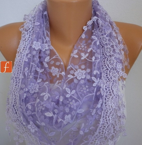 Lilac Floral Lace Scarf Spring Easter Mother's Day Gift Shawl Cowl Scarf  Gift Ideas For Her Women Fashion Accessories