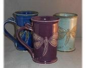 Hand carved dragonfly large mug