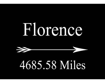 Custom Mileage Print Anywhere to Florence Italy Print Poster