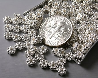 SPACER-SLR-4.5MM - Silver Plated Flower Spacer Beads, 4.5mm - 50 pcs