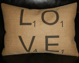 Scrabble LOVE Burlap Pillow, Scrabble, Shabby Chic, INSERT INCLUDED