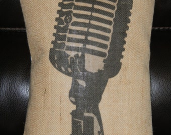 Retro Microphone Burlap Pillow, Music, Singer, Artist, Band,  INSERT INCLUDED