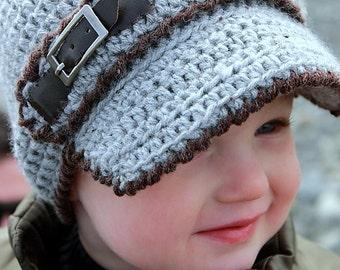 Crochet Hat Pattern: 'Linden Newsboy', Toddler Visor Cap, Toddler Crochet Newsboy