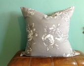 """Gray and White Rose Print Pillow Cover - Set of 2 - 24""""  - Free US Shipping"""