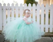 Pixie tutu dress Mint Green with white satin bow - Flower girl dress -Party Dress
