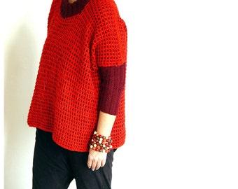 SALE! Deep Red n Burgundy Boxy Sweater.