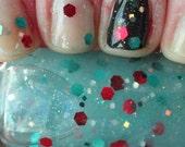 Laughing in the Dark Glow in the Dark multi color glitter topcoat indie franken nail polish