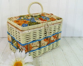 Ivory Wicker Sewing Basket & Floral Fabric HandBag Size - Retro Colorful Fabric Box with Woven Trim Satin Lined Wood Rectangular Hand Basket