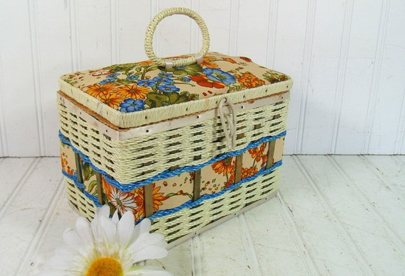 Wicker Sewing Basket Ivory & Floral Fabric Handbag Size