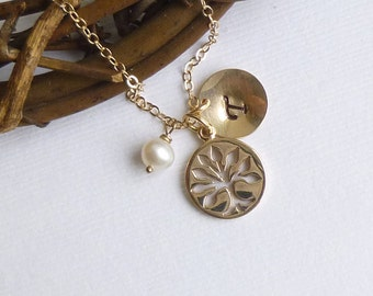 Gold Family Tree Charm Necklace with Personalized Initial Disc on 14k gold filled chain. -- Mothers Grandmothers Gift