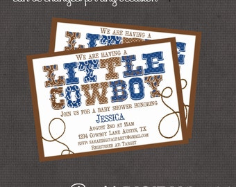 Little Cowboy Blue Baby Shower Invitation 4x6 or 5x7 digital you print your own- Design 106