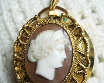 Vintage Lucerne Swiss Cameo Pendant Watch Double Sided Working Condition