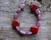 Ceramic and stone beaded bracelet 7 1/2 inch