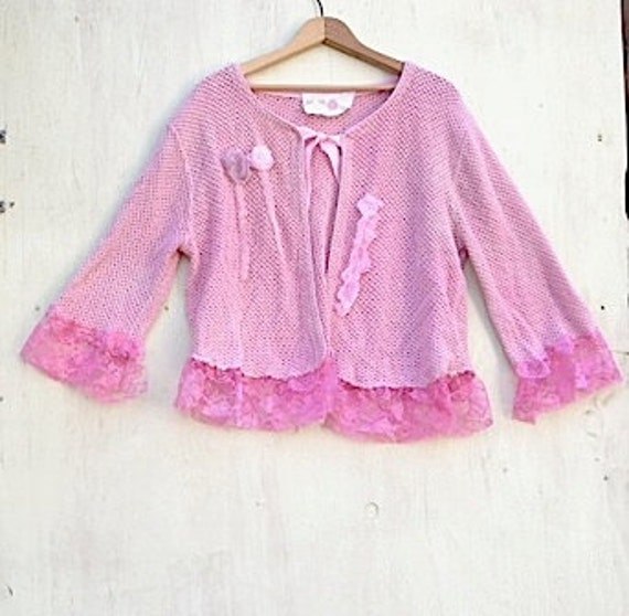 Summer  rose pink cardigan hand-dyed wedding mother of bride shabby gypsy sweater kateblossom top rustic prairie style