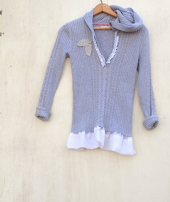 Rustic spring gray grey fog sweater hoody hoodie upcycled lace romantic shabby chic