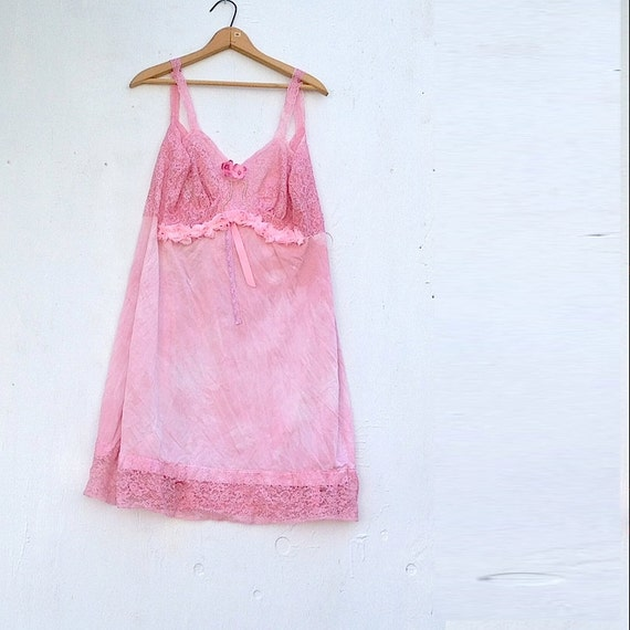 Vintage Hand Dyed Slip Pink Lace Hand Dyed Sweater XL wedding bride mother of bride shabby dress