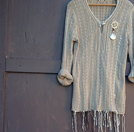 RESERVED for Beth ecru ivory sweater boutique dana buchman xl crochet ribbon yarn ooak tunic Mother's Day gift
