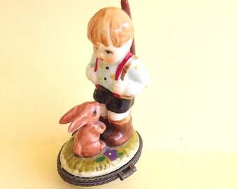 Vintage Trinket Box Boy Figurine Porcelain Keepsake Treasure Box Decor Accent