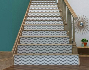 Chevron Your Stairs | Removable wallpaper | Vinyl wall sticker decal | Thin Chevrons | FREE SHIPPING