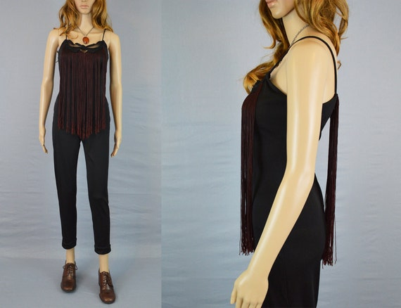 1980s Fringe Jumpsuit / Vintage Catsuit / Bodycon / Insane fringe / Cutout Design / Crescent Moon / Skinny Pants / XS