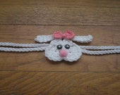 SALE: Crochet Bunny Headband with pink bow
