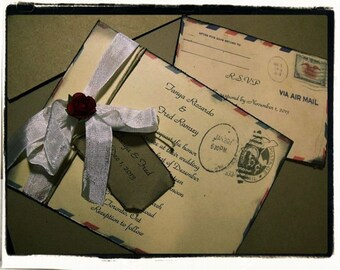SAMPLE......Airmail Wedding invitation suite