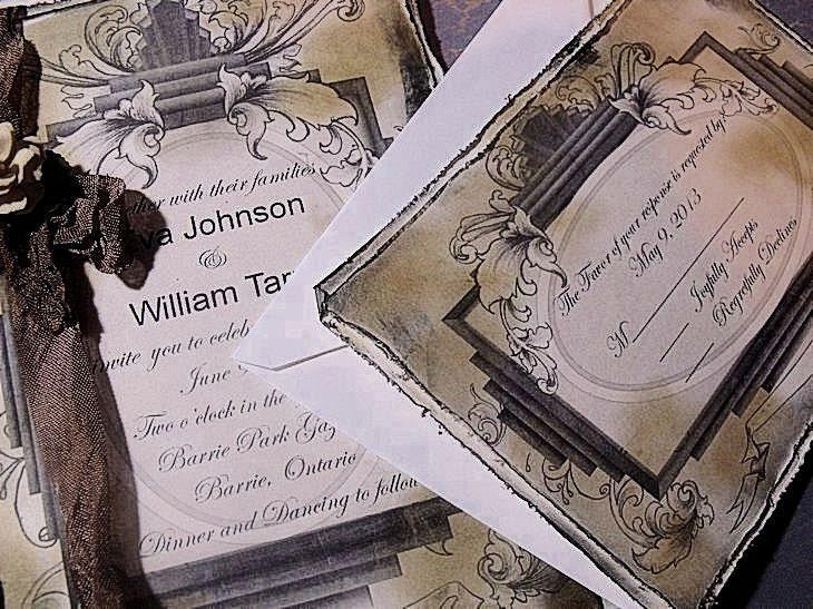 Vintage Handmade Wedding Invitations: SAMPLE…………Wedding Invitation Handmade Vintage / Cottage