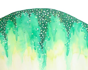 NEVER GO abstract watercolor art print in emerald green