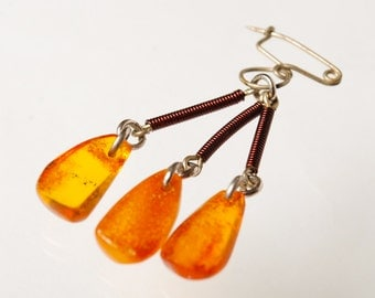 Antique genuine Baltic Amber pin brooch.