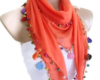 cotton scarf, Necklace scarves, Traditional Turkish-style, Headband,  Orange scarf, crochet scarf,  fashion 2014