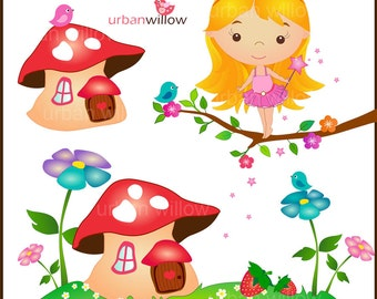 WOODLAND Fairy 2 - Clip art set in Jpeg & Png files.