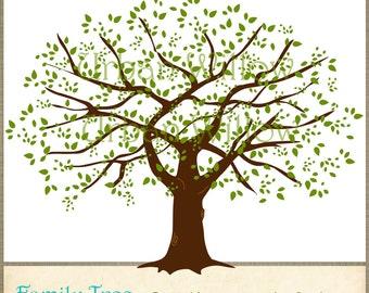 FAMILY OAK TREE Large Digital Ima Ge Of Full Oak Tree In 2 Sizes