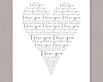 "PRINTABLE 8x10 ""I Love You"" Heart Poster - PDF Digital File"