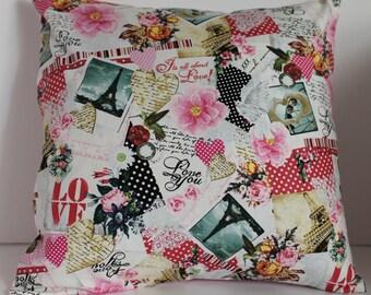 12x12 Love Vintage Style Decorative Pillow
