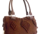 Brown Crocheted Handbag afghan beaded  dark brown  bag spring fashion bag gift handmade new season winter crochet