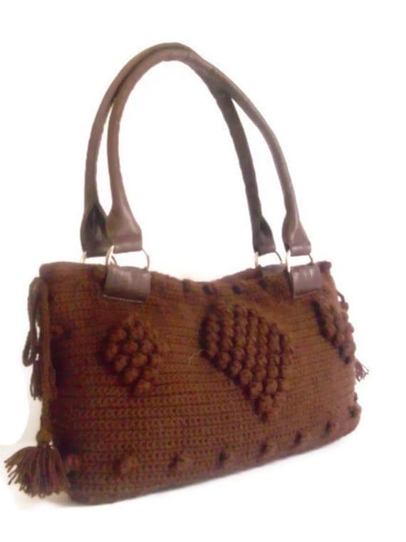 Crochet Brown Handbag