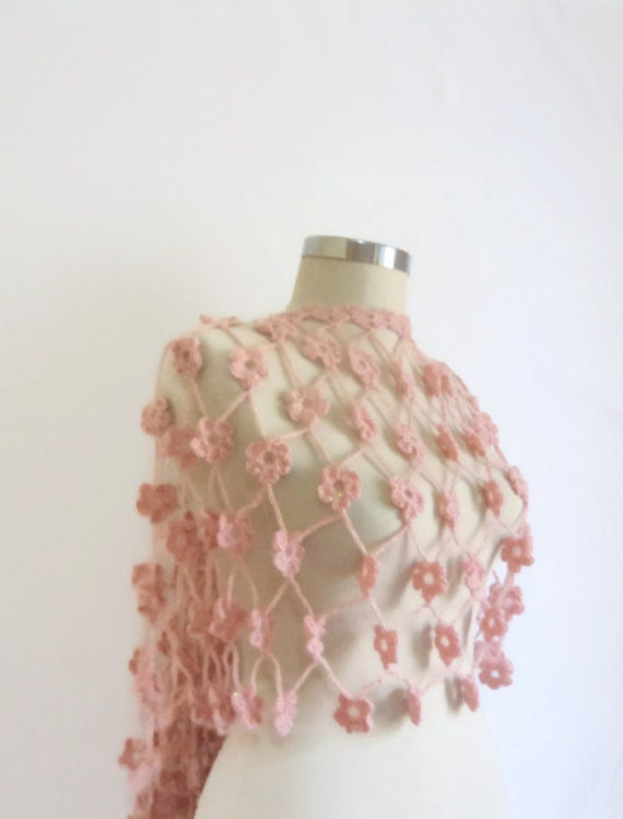 DISCOUNT shawl LOVE Pale Pink Shawl  crochet shawl warm wrap stole for her   Romantic handmade gift flower wedding gift for her
